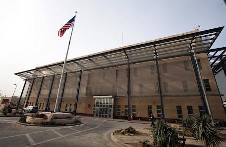 """السفارة الامريكية في بغداد """"نعتذر عن الاصوات التي سيسمعها كل من يسكن محيط السفارة""""."""