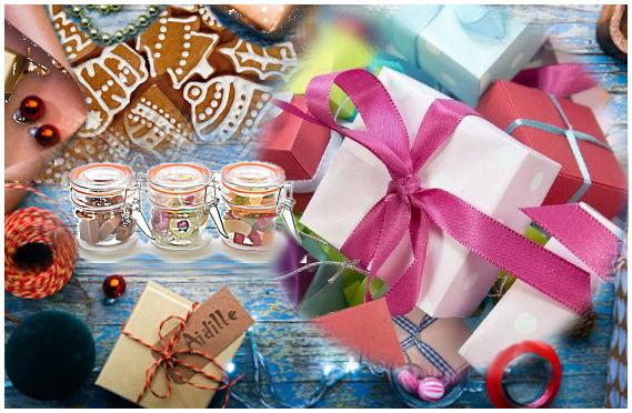 Kasattu erilaisia jouluisuuksia; pipareita, lahjapaketteja, ovikranssi, makeutta sisältäviä arvoituksellisia lasipurkkeja - kaikkea mitä voi joululta odottaa...