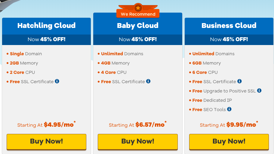 hostgator cloud hosting plans