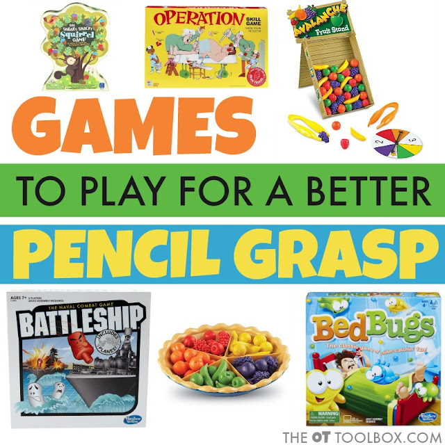 These are games to improve pencil grasp and increase fine motor skills needed for a better pencil grasp when writing.