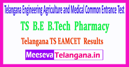TS EAMCET Telangana Engineering Agriculture and Medical Common Entrance Test Results 2018 Download