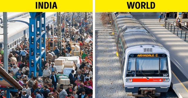 Tàu hỏa là phương tiện công cộng vô cùng phổ biến ở Ấn Độ. Thế nhưng cách đơn giản nhất để hình dung ra sự đông đúc này là số dân đi tàu hỏa mỗi ngày ở Ấn Độ bằng tổng dân số nước Úc.
