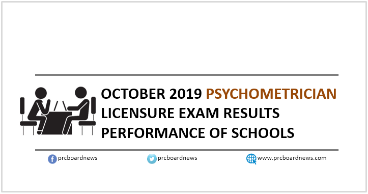 October 2019 Psychometrician board exam result: performance of schools