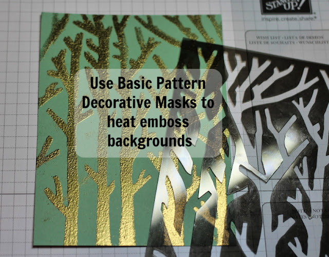 Tip to use Basic Pattern masks to heat emboss backgrounds by Nicole Steele The Joyful Stamper