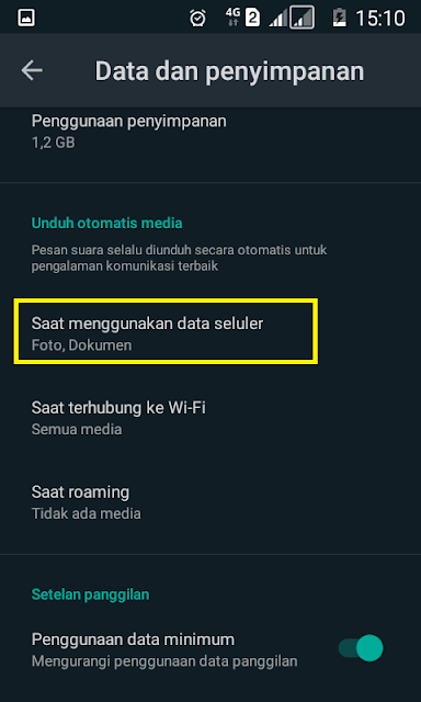 seting data penyimpanan wa