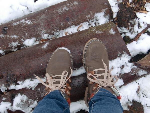 Füße im Wald auf Baumstämmen