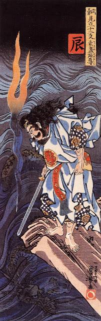Susanoo observando a Yamata no Orochi