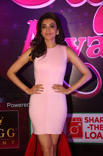 Kajal Agarwal in a BeautifulS leelvess tight Peachy Short Dress at Apsara Awards 2016 WOW