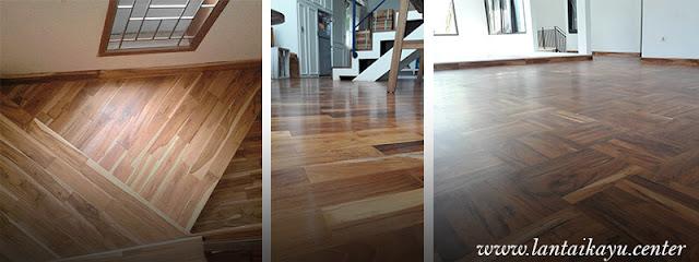 contoh lantai kayu Jati terpasang pada rumah
