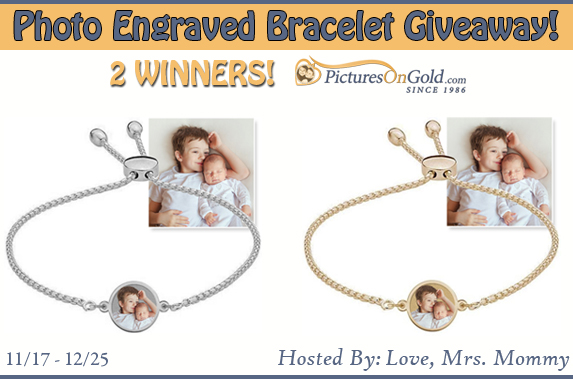 2 Winners! Photo Engraved Bracelet from PicturesOnGold.com Giveaway!
