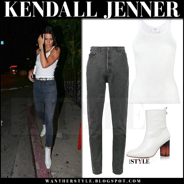 Kendall Jenner in white tank top, grey jeans re done and white boots kurt geiger august 15 2017 model street fashion