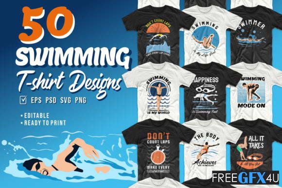 Swimming T-shirt Vector & PSd Designs