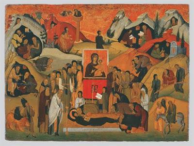 Η Κοίμηση του οσίου Εφραίμ του Σύρου (=Σύριου), που έζησε τον 4ο αιώνα.
