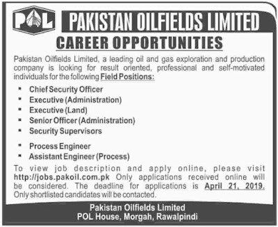 Pakistan Oilfields Limited POL Jobs 2019
