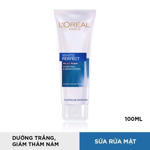 Sữa rửa mặt dưỡng trắng và sáng mịn da L'Oréal Paris White Perfect 100ml