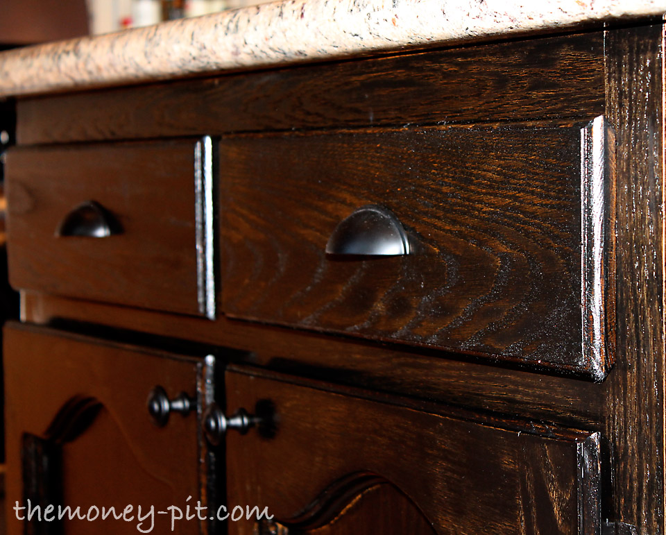 My New Kitchen Island: Staining Oak Cabinets! - The Kim Six Fix