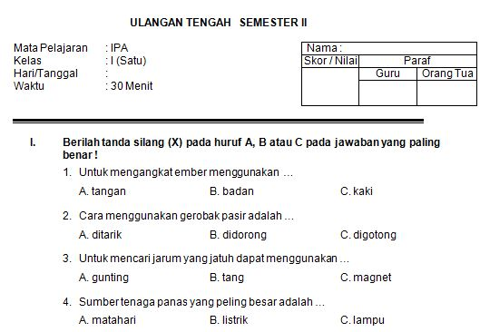 Kumpulan Soal UTS SD/MI Kelas 1 Semester 2 Mata Pelajaran IPA Format Microsoft Word