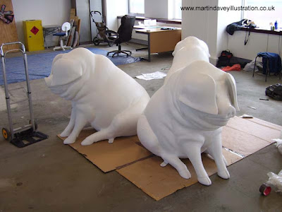 Martin Davey WIP painting piggy bank pig sculpture