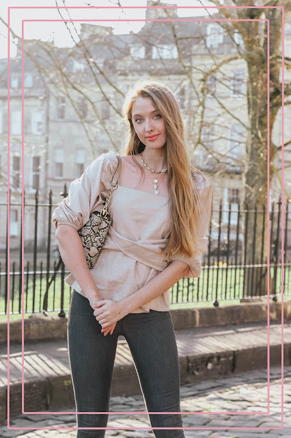 ASOS spring edit square neck blouse beige