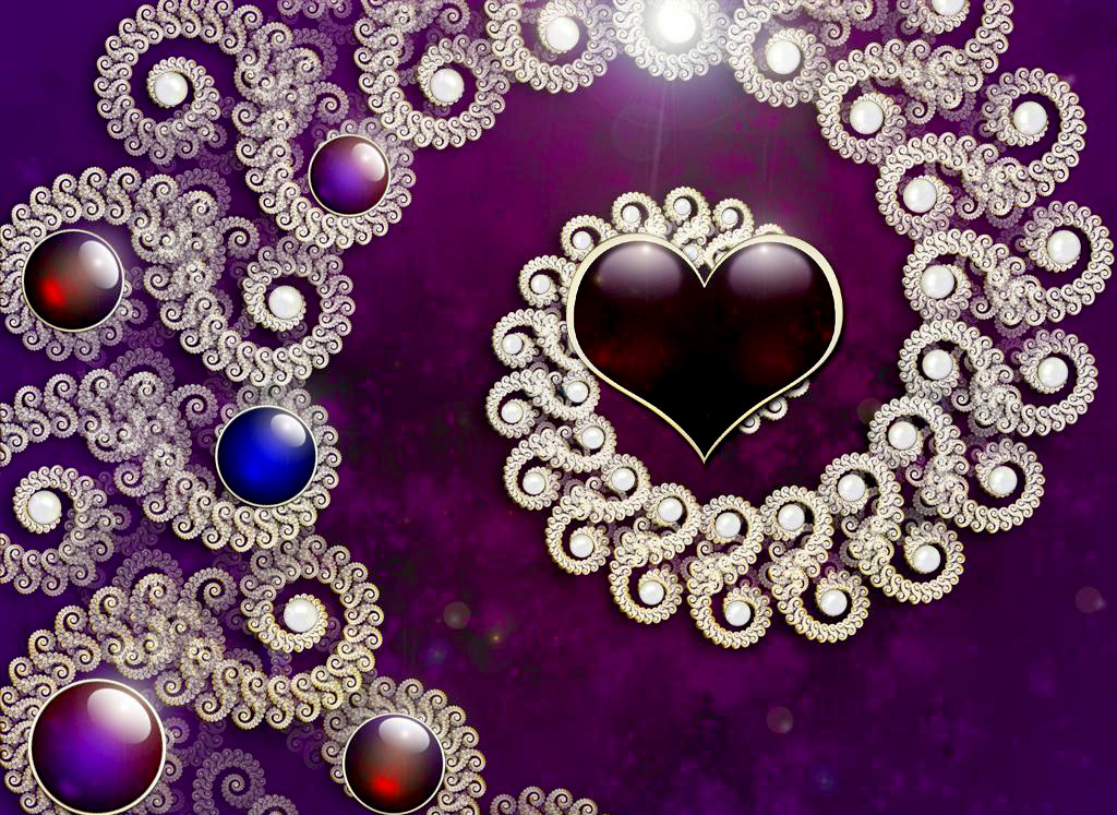 Purple Hearts Wallpaper
