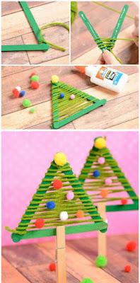 arbolitos de navidad con palillos de madera reciclados