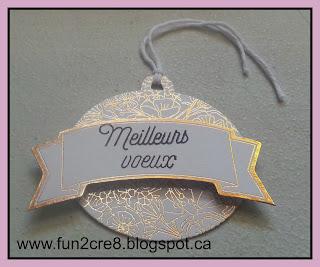 CTMH Close To My Heart gold tag français étampe Meilleurs voeux doré