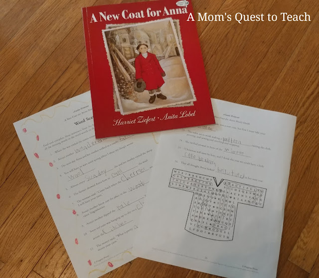 A New Coat for Anna book and word search activity