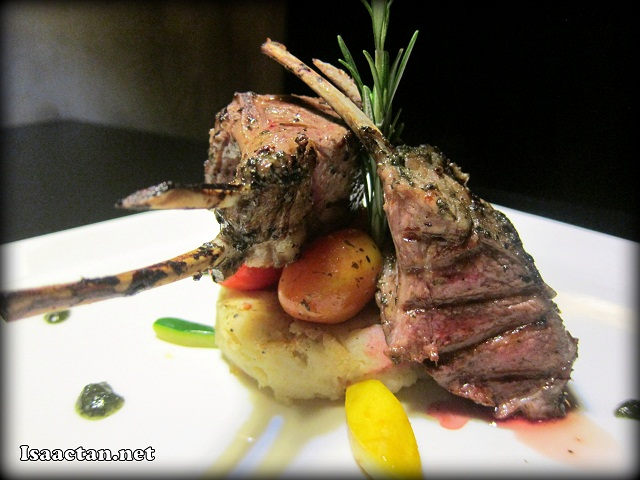 Mint Marinated Rack of Lamb with  Fondant Potato and Roasted Cherry Tomato - RM45