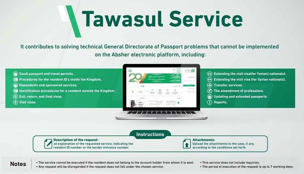 Service In Absher Has Now Been Changed To The  'Messages And Requests' Service In Absher Has Now Been Changed To The 'Tawasul' Service