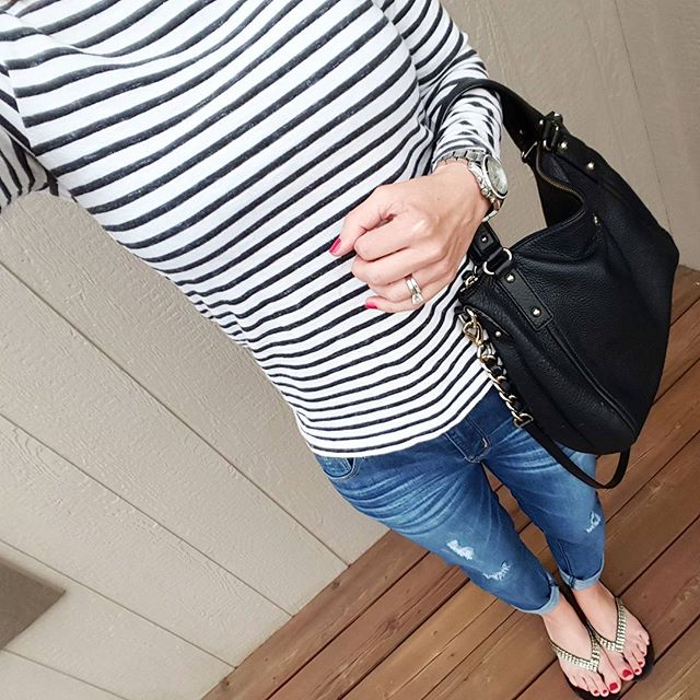 Gap Striped Top (this year's version) // Jolt The Drifter Boyfriend Jeans - love, love, love and on sale for under $30!!! // Kate Spade Kori Handbag (sold out - similar under $30) // Aldo Flip Flops (similar) // Michael Kors Runway Watch - on sale!