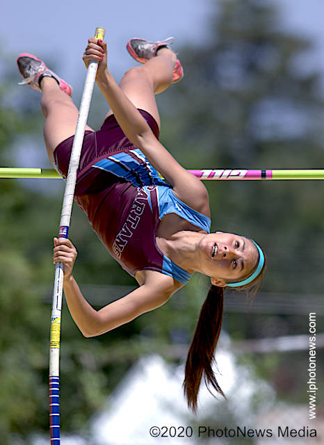 Loren Brooks pole vaults at state track