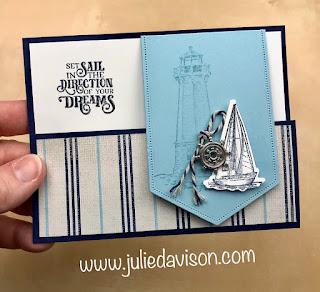 Stampin' Up! Sailing Home Flap Fun Fold Card + VIDEO ~ www.juliedavison.com