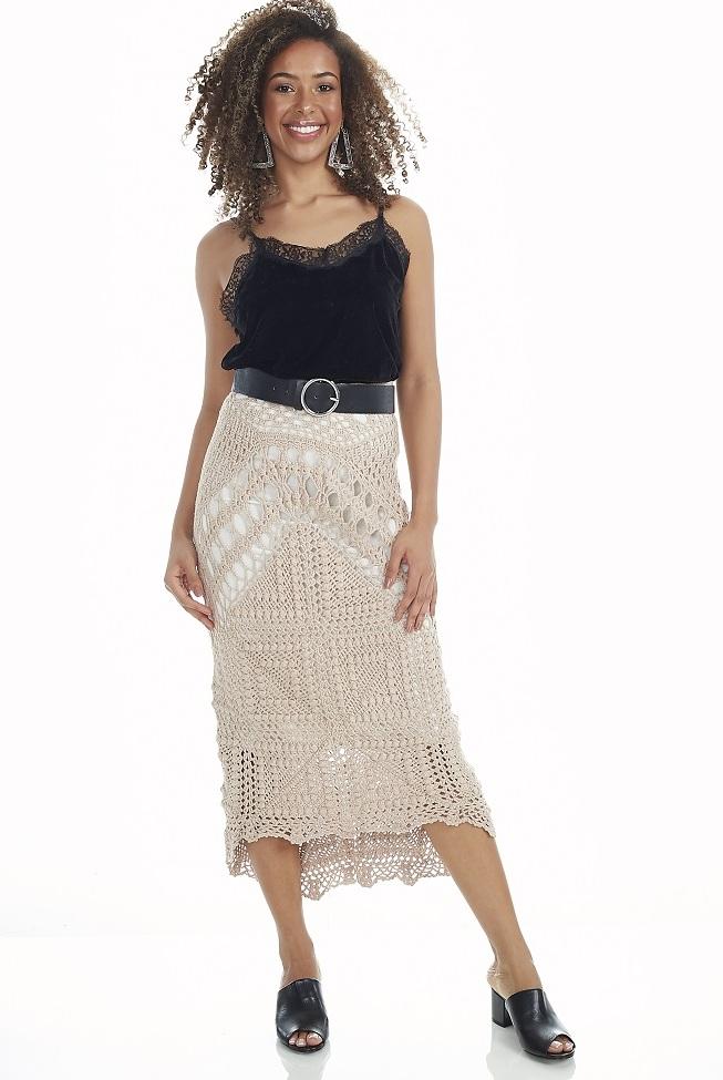 Дизайнерская юбка крючком. Схемы вязания