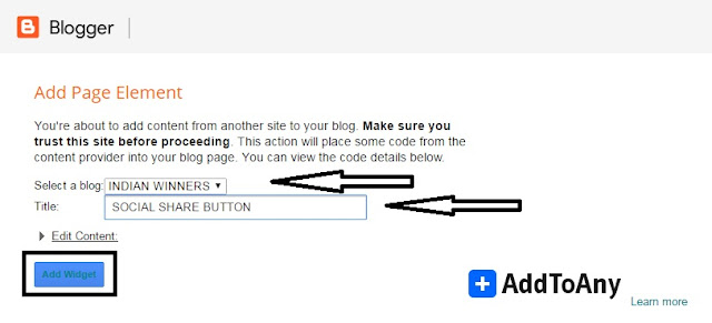 how to add shocial share button in blogger