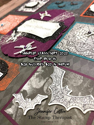 Halloween Sampler Class includes $20 in merch.  All paper (except DSP) cut, punched, die cut, embossed - ready for you to stamp and assemble!!  RSVP by Sept 14, 2020.  #StampTherapist #Stampinup