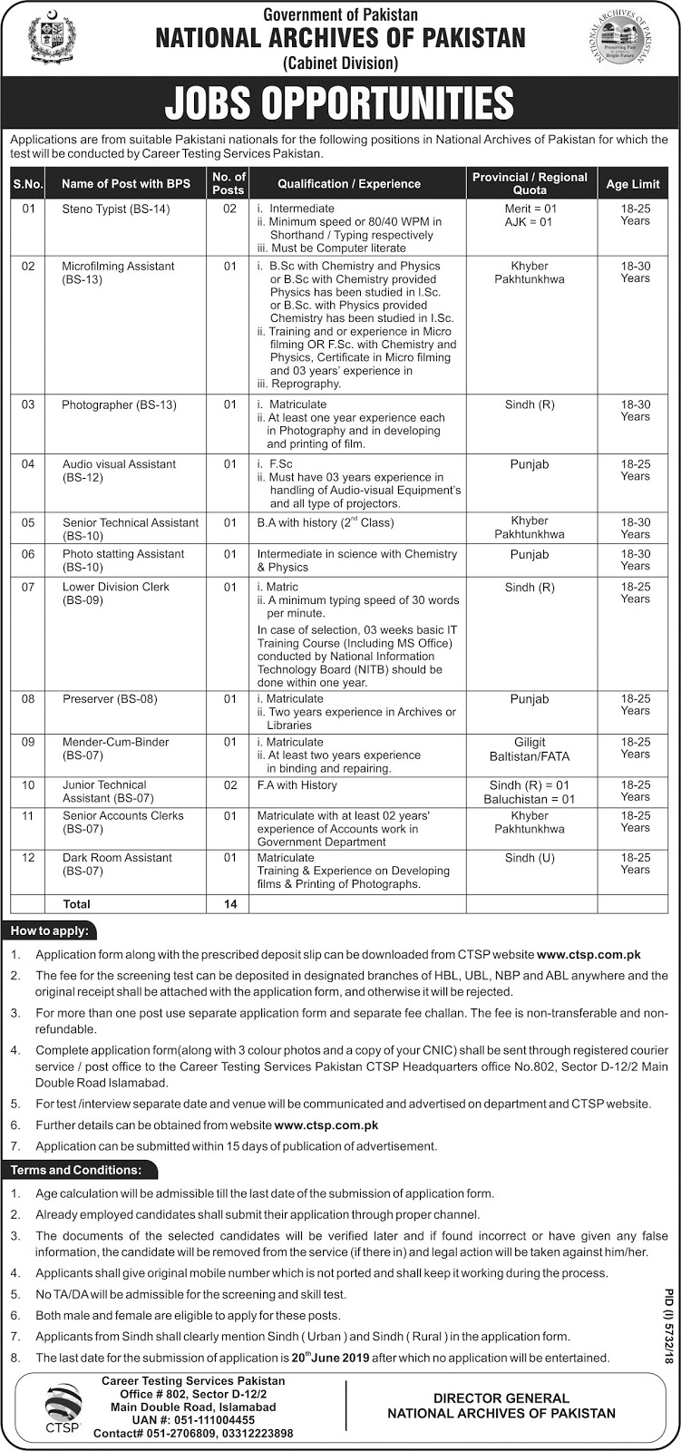 Government of Pakistan has Announced Jobs in National Archives May 2019