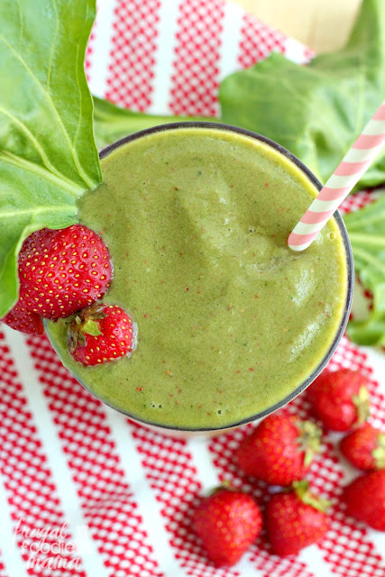 Packed with vitamins, nutrients, & antioxidants, this thick & creamy Strawberry-White Beet Green Smoothie is the perfect way to get in those leafy greens.