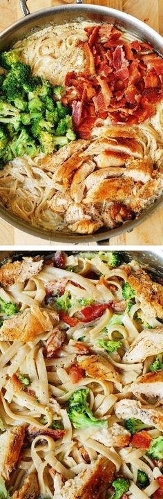 Chicken Broccoli Pasta with Bacon is an easy dinner that a whole family will love!  Great recipe for those who want protein (chicken) and veggies in their creamy pasta.