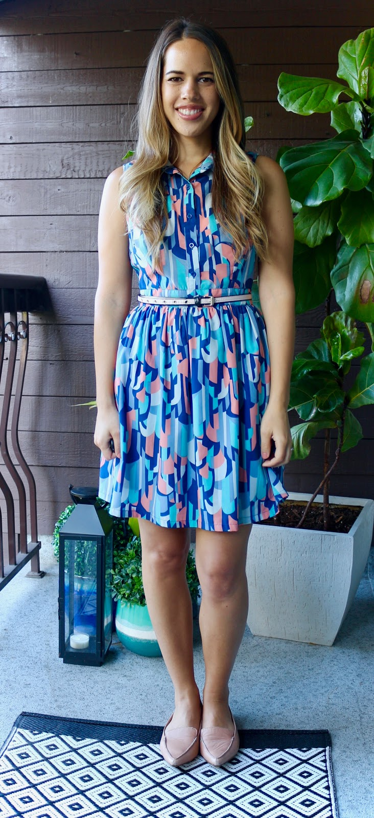 Jules in Flats - Forever 21 Abstract Print Collared Shirt Dress