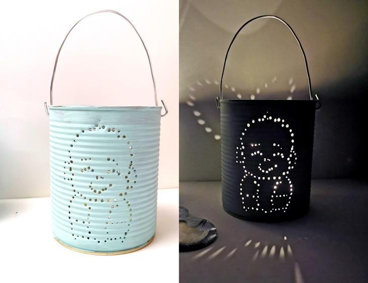 zwei Konservendosen-Leuchten mit Babymotiv -