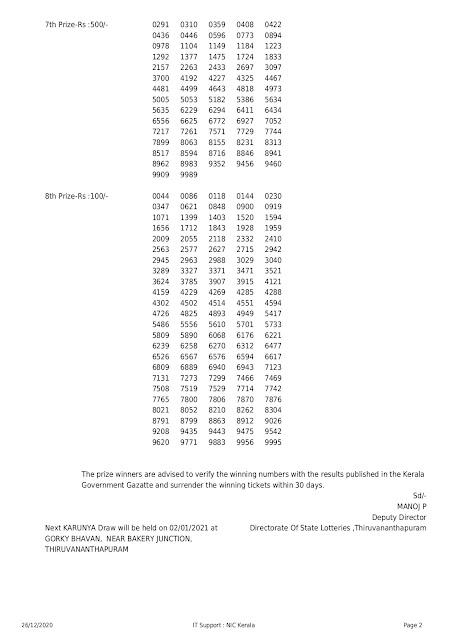 kerala lottery result 26.12.2020 part-1 karunya kr-479