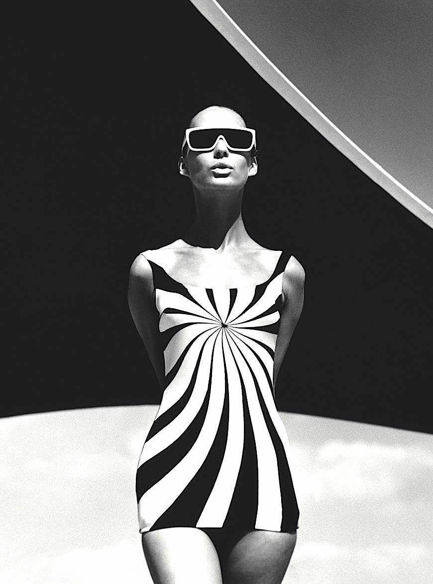 an F.C. Gundlach photo 1966, op-art sun swimsuit, 1966 fashion model