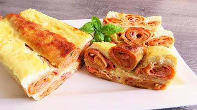 Zapečene palačinke sa šunkom i sirom / Oven Baked Ham & Cheese Pancakes
