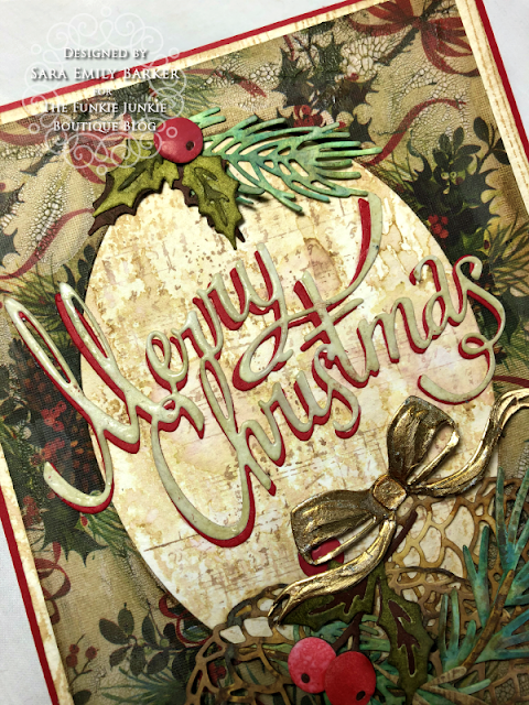 Sara Emily Barker https://sarascloset1.blogspot.com/2019/11/vintage-christmas-card-for-funkie.html Vintage Christmas Card Tim Holtz Worn Wallpaper Sizzix Thinlits Christmas Ribbon Festive Greens Funky Festive Florals Pine Branch 2