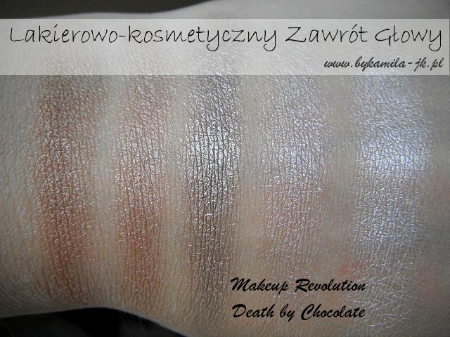 Paleta cieni Makeup Revolution Death by Chocolate swatch swatche