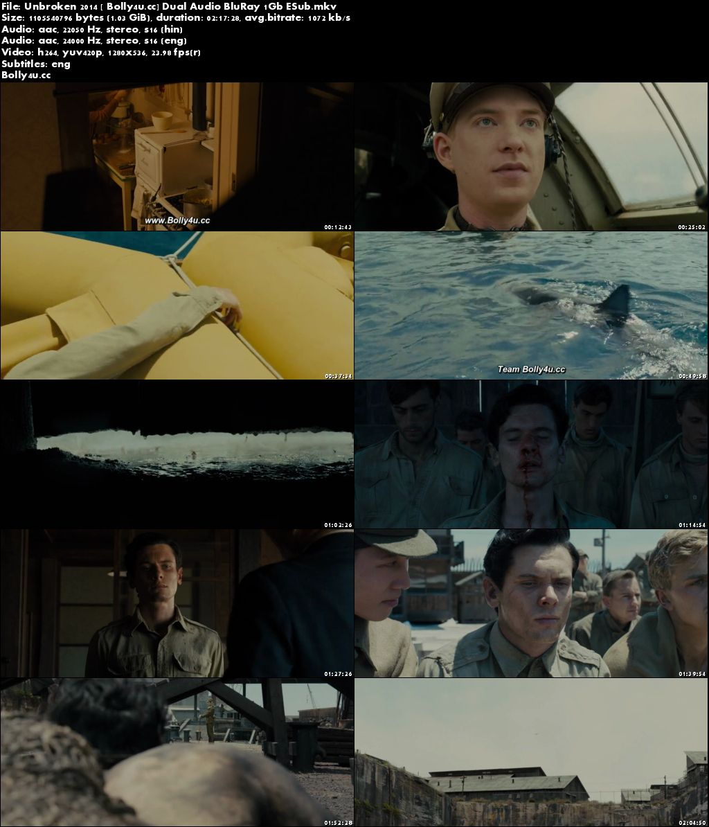 Unbroken 2014 BluRay 1GB Hindi Dual Audio 720p ESub Download