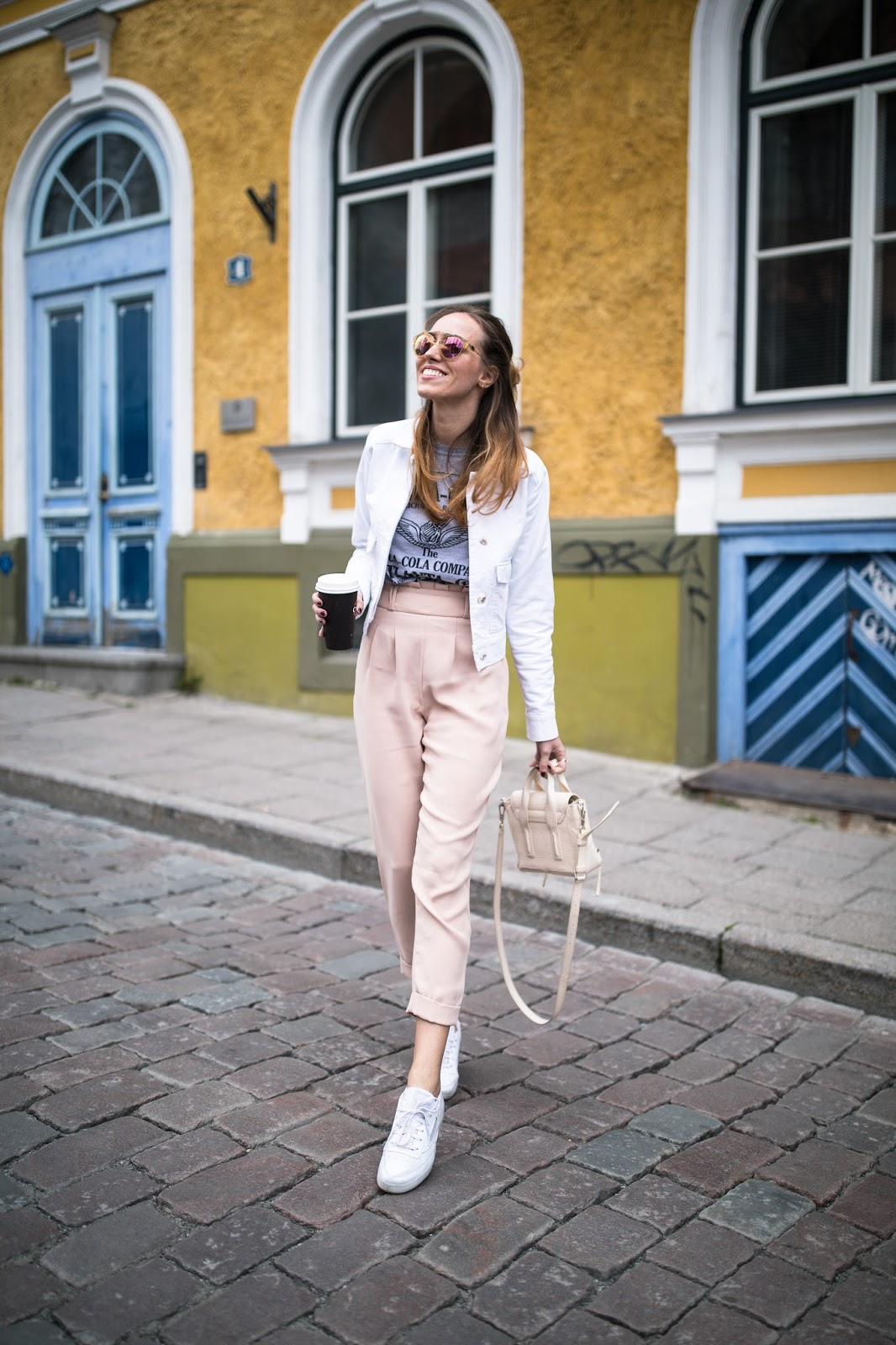 pink pants spring outfit