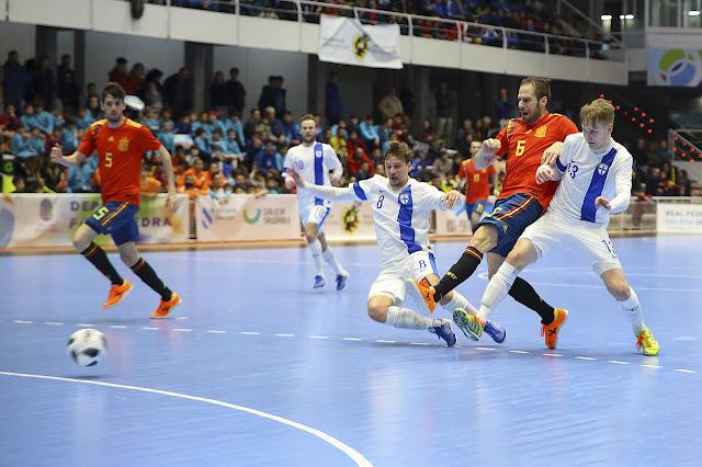 Pertandingan Futsal Internasional antara Spanyol dan Finlandia