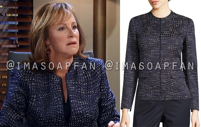 Nora Buchanan, Hillary B. Smith, Navy Blue Print Jacket, General Hospital, GH