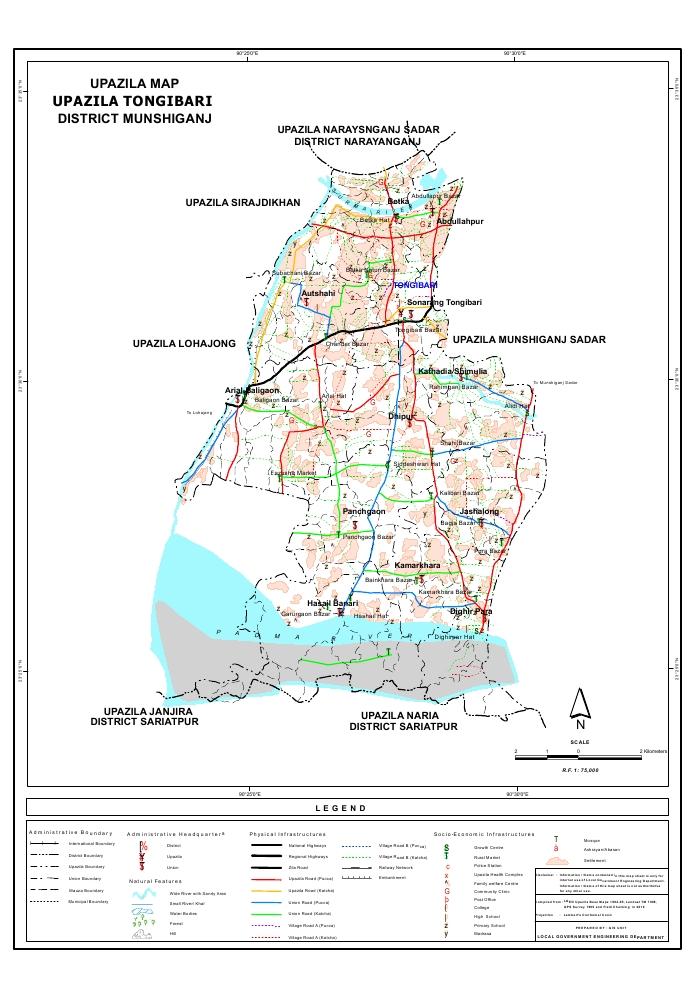Tongibari Upazila Map Munshiganj District Bangladesh